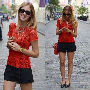 Zara Woman Red Lace Peplum blouse
